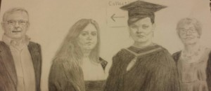 pencil drawing of a family of four