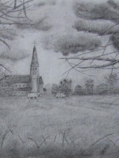 A3 drawing done in charcoal of a church in Woodford Green, Essex