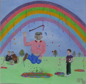 A cartoon style painting of an elderly man throwing his stick in the air and jumping for joy as the rainbow starts to rain colours.