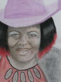 oil pastel drawing of a lady