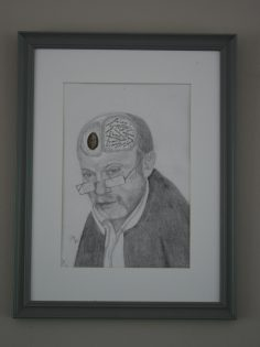 Pencil portrait of an elderly man wearing glasses, with the two hemisphere s of his brain exposed.