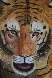 Close up an oil painting of a tiger