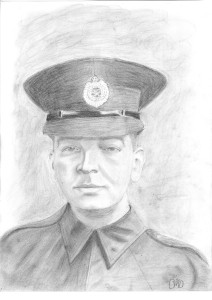Charcoal drawing on a soldier