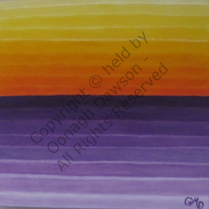 Abstract painting of a sunset with vibrant orange and purple colours