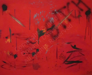 Red abstract painting encapsulating anger