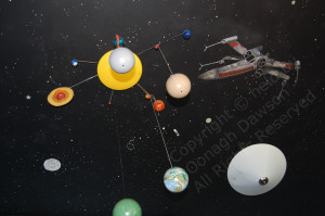 mural painting of a space scene