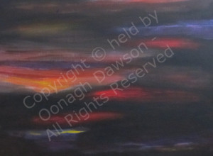 abstract acrylic painting of a sunset