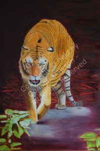 Oil painting of a tiger