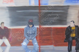 Oil painting of passengers on tube train